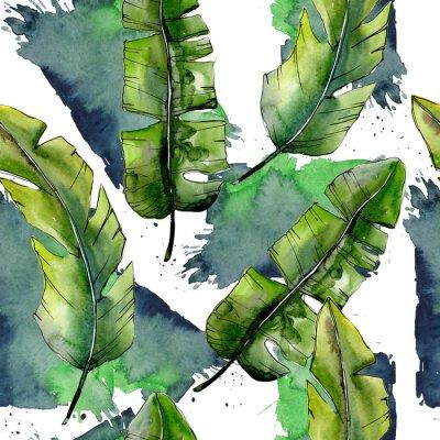 Fototapet Tropiska gröna lesfar i ett akvarellstilmönster. Aquarelle blad för bakgrund, textur, omslagsmönster, ram eller kant.