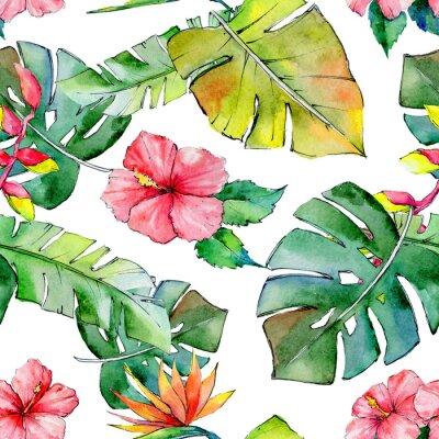 Fototapet Tropiska Hawaii lämnar mönster i akvarellstil. Aquarelle vildblomma för bakgrund, textur, omslagsmönster, ram eller kant.