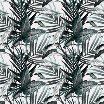 Fototapet Tropiska löv sömlösa mönster. Konstnärlig bakgrund.