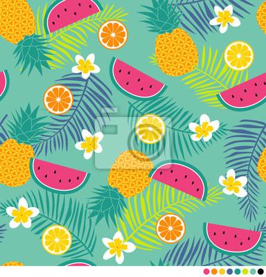 Fototapet Tropiska mönster med ananas, plumeria, palmblad, vattenmelon och citrusfrukter