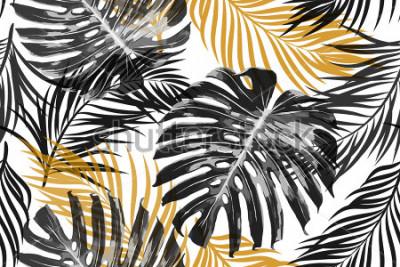 Fototapet Tropiska palmblad, djungelbladen. Vacker sömlös vektor moderiktig chic abstrakt tropisk blommönster bakgrund