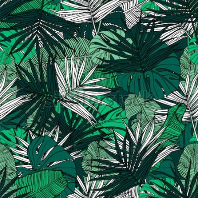 Fototapet Tropiska sömlösa mönster. Handritad illustration med bladverk av tropiska växter. Textur med bananblad, palm och monstera. Sommarvektordesign.