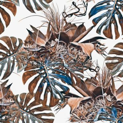 Fototapet Tropiska växter sömlöst mönster. Akvarell illustration. Konstnärlig bakgrund.
