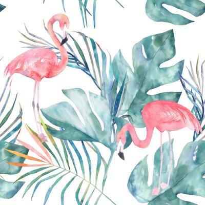 Fototapet Tropiskt sömlöst mönster med flamingo och löv. Akvarell sommarutskrift. Exotisk handritad illustration