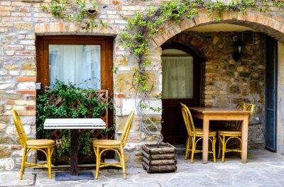 Fototapet Trottoar restaurang