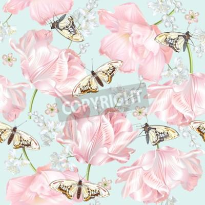 Fototapet Tulip butterfly pattern