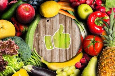 Fototapet Tummen upp för frukt och grönsaker