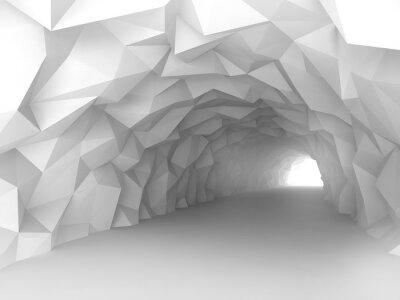 Fototapet Tunnel interiör med kaotiska polygonal lindring av väggar
