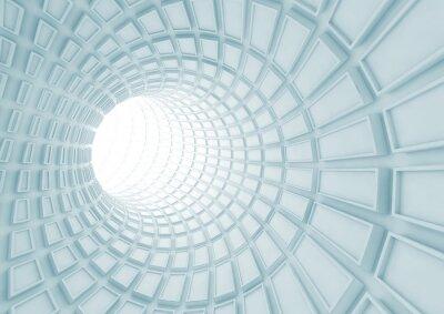 Fototapet Turning blå tunnel interiör med extruderade plattor