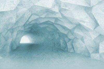 Fototapet Turning ljusblå tunnel interiör med kristall lättnad