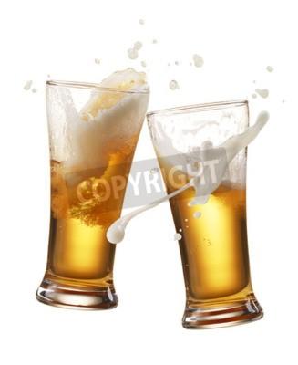 Fototapet två glas öl rosta skapa splash