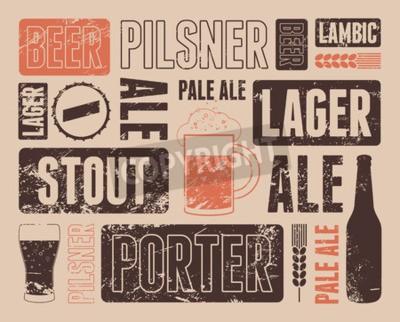 Fototapet Typografisk retro grunge öl affisch. Vektor illustration.