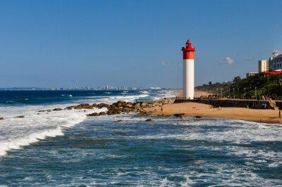Fototapet Umhlanga fyr med Durban som bakgrund; Sydafrika