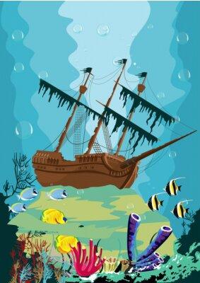 Fototapet undervattenslandskap med gamla piratskepp