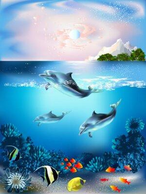Fototapet Undervattensvärlden med delfiner och växter
