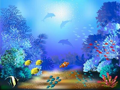 Fototapet Undervattensvärlden med fiskar och växter