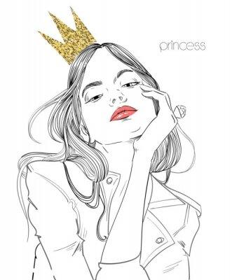 Fototapet ung vacker kvinna med krona