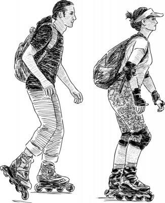 Fototapet ungdomar skridskor
