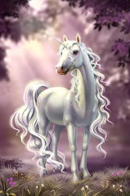 Fototapet unicorn in full growth, against the background of the evening forest