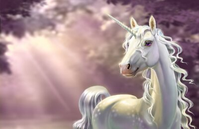 Fototapet Unicorn in the forest, close-up