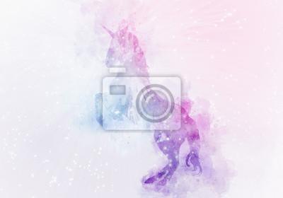 Fototapet unicorn magisk akvarellmålning