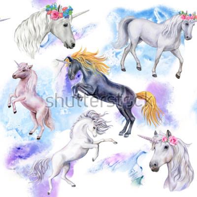 Fototapet Unicorns. Sömlös mönster med hästar. Djur illustration. Vattenfärg. Köpcenter. närbild