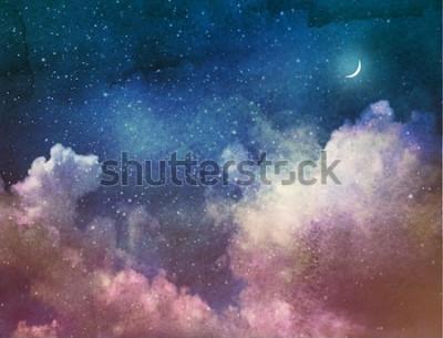 Fototapet Universum fylld med stjärnor och måne. Vattenfärg