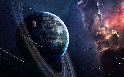Fototapet Universum scen med planeter, stjärnor och galaxer i yttre rymden som visar skönheten i utforskning av rymden. Element tillhandahållits av NASA