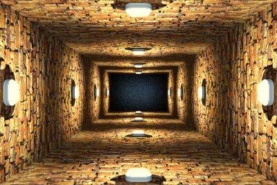 Fototapet Uppifrån av gammal översvämmad hissaxel eller bra med tegelväggar och punktljus