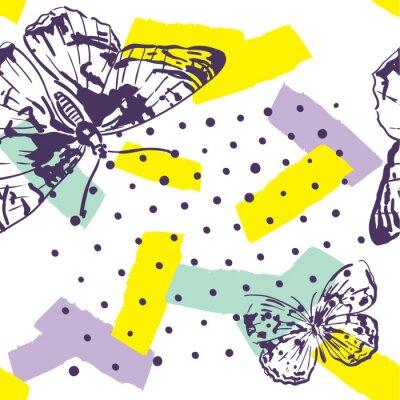 Fototapet Upprepad mönster med insekter. Trendigt mönster med fjärilar i handritad stil. Bakgrund för textil, tillverkning, bokomslag, bakgrundsbilder, tryck eller presentförpackning.