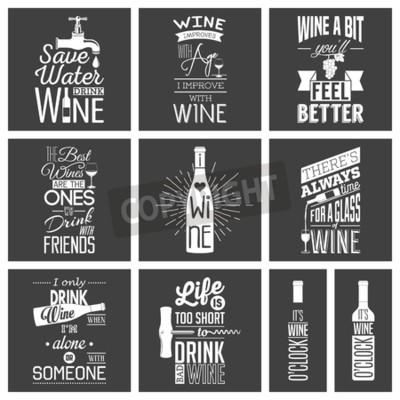 Fototapet Uppsättning av årgång vin typografiska citattecken.
