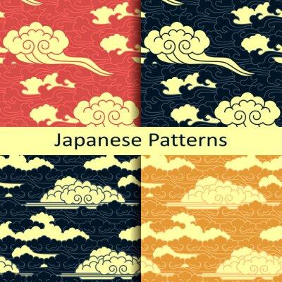 Fototapet Uppsättning av fyra japanska traditionella molniga mönster