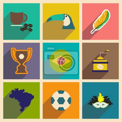 Fototapet Uppsättning av platta ikoner med lång skugga Brasilien