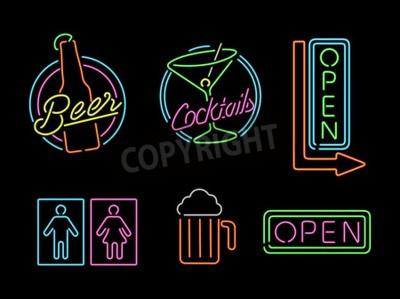 Fototapet Uppsättning av retro stil neon ljus disposition tecken ikoner för bar, öl, öppen verksamhet, cocktail och badrum symbol.