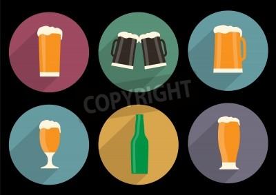 Fototapet uppsättning platta öl ikoner med lång skugga