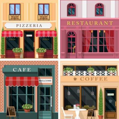 Fototapet Uppsättning vektor detaljerad platt design restauranger och kaféer fasad ikoner. Kyler grafisk exteriör design för restaurangbranschen.