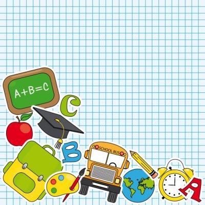 Fototapet Utbildning och skola ikonuppsättning. Utrymme för text