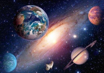 Fototapet Utrymme planet galax Vintergatan Earth Mars Saturn universum astronomi solsystem. Delar av denna bild som tillhandahålls av NASA.