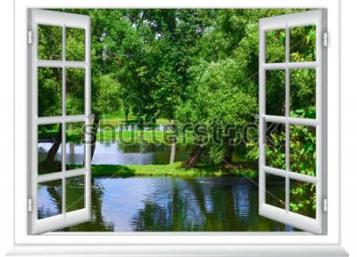 Fototapet utsikt från fönstret i vattenkroppen och trädet på sommaren