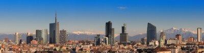 Fototapet Utsikt över Milano med Alperna i bakgrunden