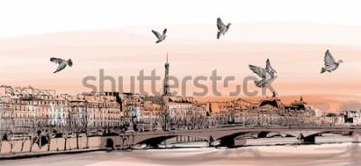 Fototapet Utsikt över Paris från