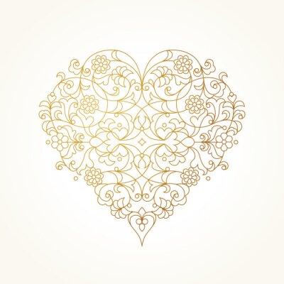 Fototapet Utsmyckade vektor hjärta. Alla hjärtans dag illustration.