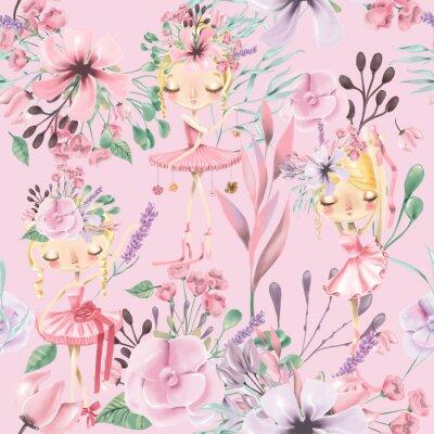 Fototapet Vacker akvarell blommig sömlös mönster med söta ballettflickor, ballerinas.