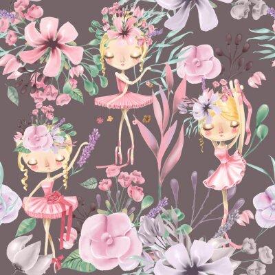 Fototapet Vacker akvarell blommig sömlös mönster med söta ballettflickor, ballerinas. Abstrakta rosor, pion, lilor och grenar på mörk bakgrund