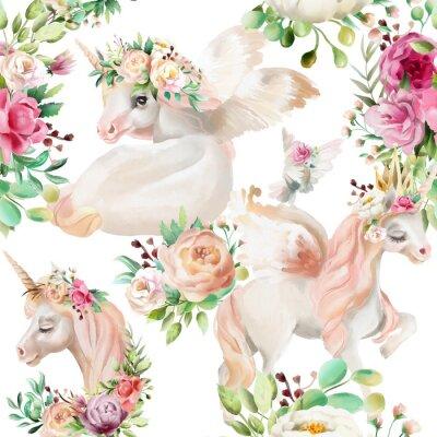 Fototapet Vacker, akvarell enhörning prinsessa, pegasus i guldkrona och blommigt, blommor peony och ros buketter och duva på vit bakgrund sömlös mönster