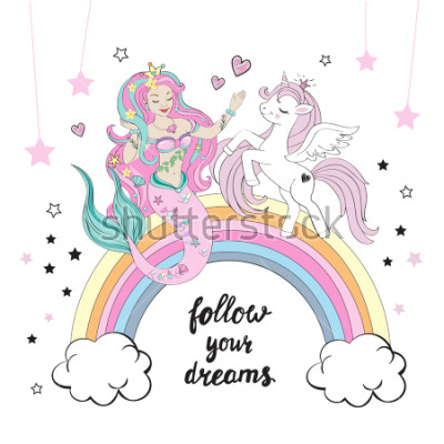 Fototapet Vacker enhörning och sjöjungfrun med bokstäver följa dina drömmar