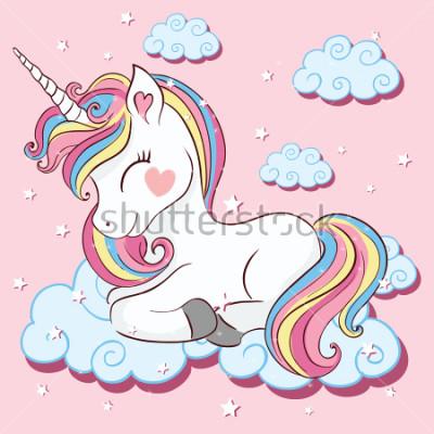 Fototapet Vacker enhörning på moln med stjärnor illustration, vektor.