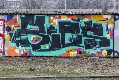 Fototapet Vacker gatukonst graffiti. Abstrakt kreativ ritning mode