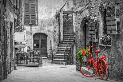 Fototapet Vacker gränd i Toscana, Gamla stan, Italien