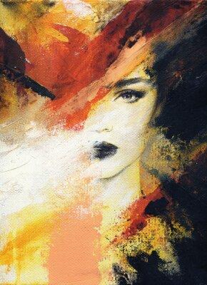 Fototapet vacker kvinna. mode illustration. akvarellmålning